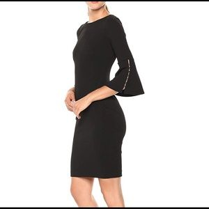 Calvin Klein faux pearl bell sleeved dress